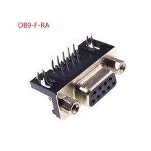 100 pièces D SUB connecteur 9 Position prise femelle PCB soudure à travers trou à Angle droit étain plaque série Port 9 broches
