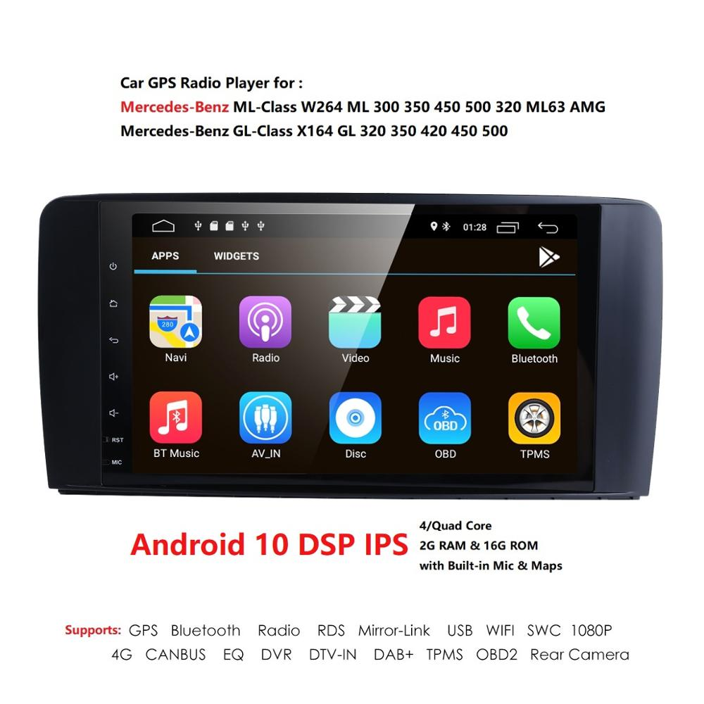 Android 10 2 DIN IPS Car Radio Player for Benz ML W164 GL X164 ML300 450 500 GL350 450 550 2005-2012 GPS Navigation USB Receiver image