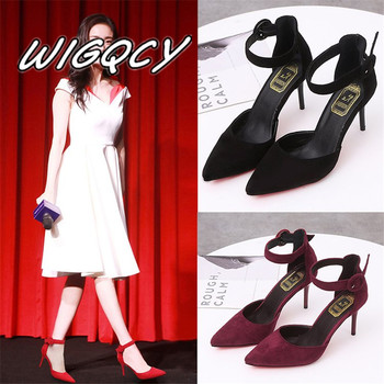 2018 New Arrival Korean Concise Pointed Toe Office Shoes Women's Fashion Solid Flock Shallow High Heels Shoes for Wome MUJER 2