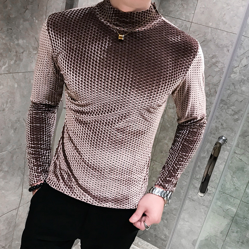 Flannel T-shirts Men High Neck Pullover Mens T Sleeve Knitting Fall Stylish Tee Long Sleeves Velvet T Shirts Casual Men Clothing