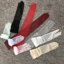 Bridal-Gloves Tulle Elbow-Length Long Finger Guantes-De-Encaje Semi-Sheer Soft Multicolor