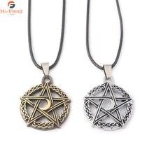 Supernatural Power Necklaces Pentagram Witch Protection Star Amulet pendant Silver ancient bronze metal Accessories men jewelry