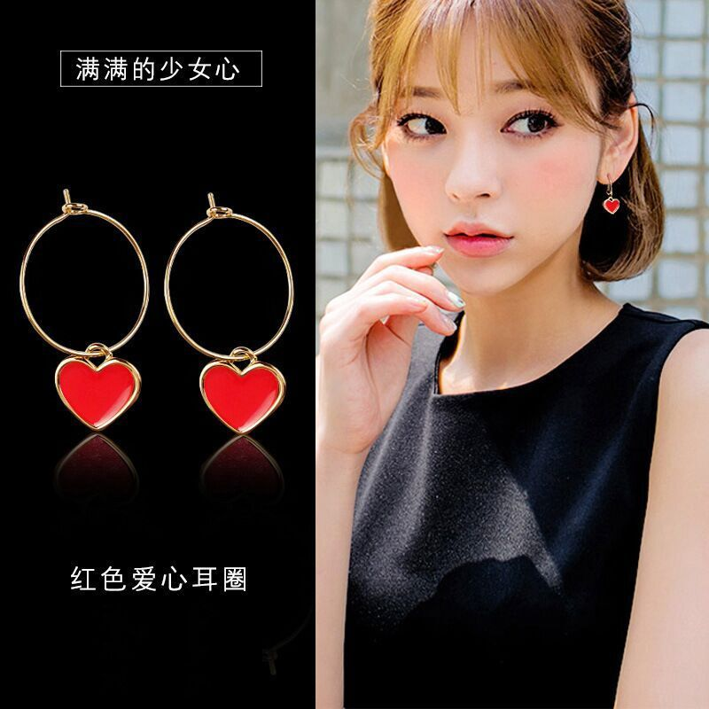 Simple Cute Red Love Circle Earrings Fashion Nightclub Cute Sequins Red Shiny Heart Earrings Hot Sale For Women Jewelry Party