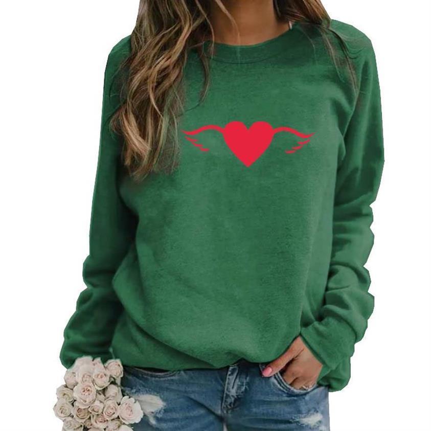 Plus Size Women Hoodie Sweatshirt Heart Printed Long Sleeve Pullover Tops Blouse
