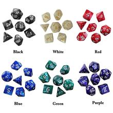 7pcs 6-color Multi-faceted Digital Dice Golden Polyhedral RPG Games With Marble Effect Party Family Game Table