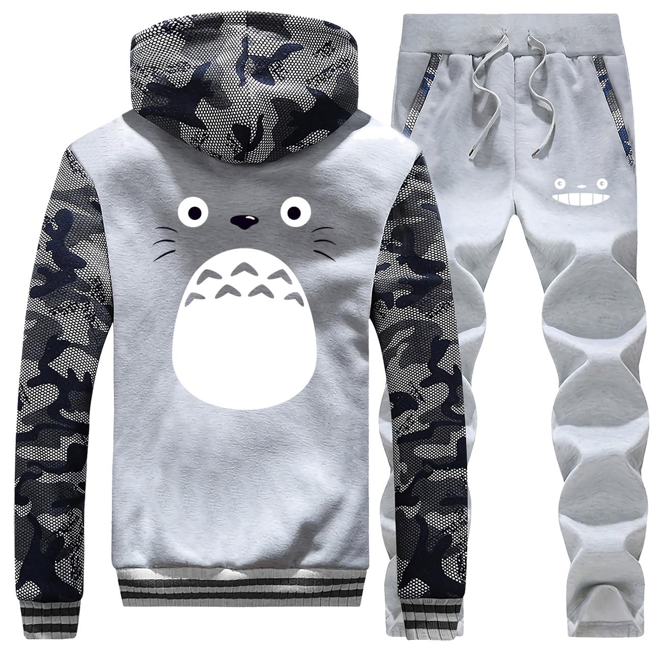 Miyazaki Hayao Cartoon Spirited Away Totoro Men Thick Hoodies Warm Suit Jacket+Pants 2 Piece Sets Studio Ghibli Mens Sweatshirt