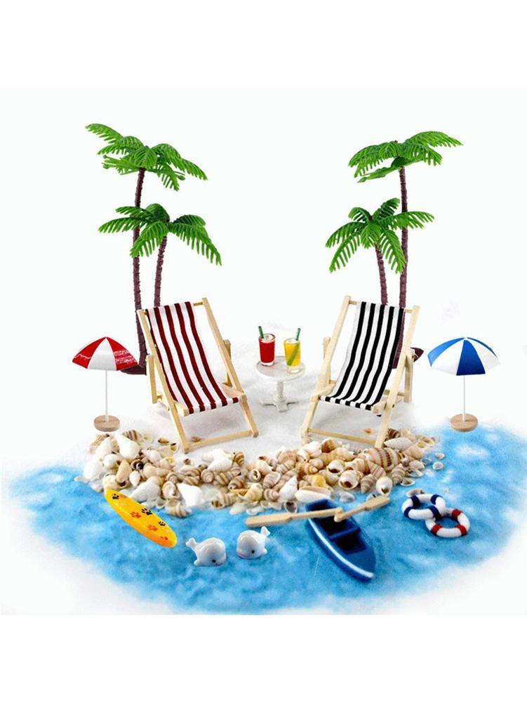 18PCS Doll House Summer Shell Beach Sun Umbrella Simulation Beach Set Children Play House Puzzle Toy Room Decoration