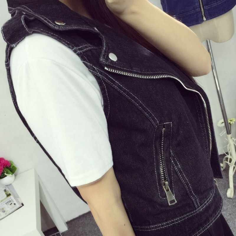 Moda feminina denim sem mangas jaqueta feminina com zíper namorado casual outwear colete retro motocicleta jean colete plus size 8xl