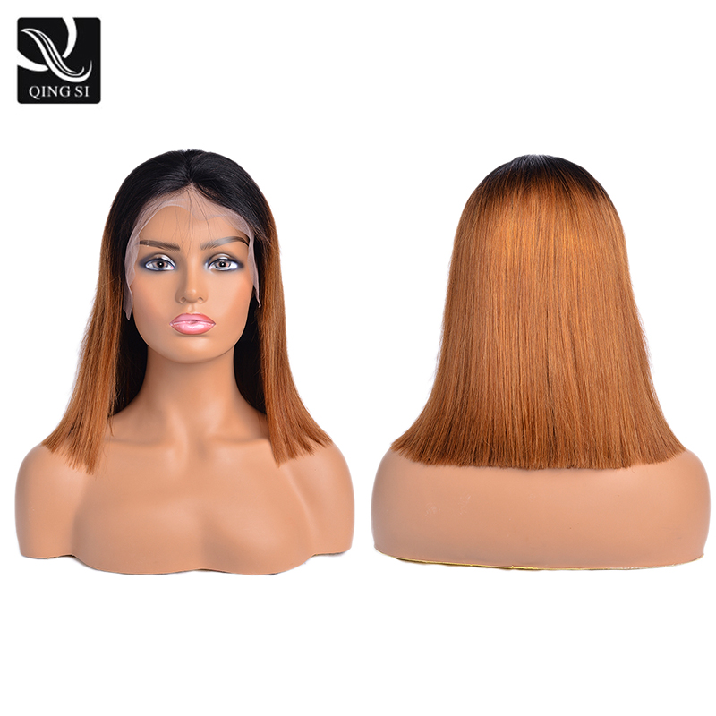 Straight Brown Lace Front Wig Ombre Dark Root Natural Looking Human Hair Bob Wigs 13*4 Lace Frontal Wig For Women With Baby Hair