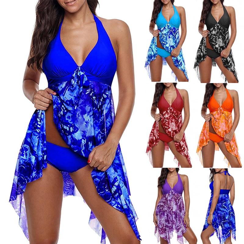 Summer Women Swimwear Irregular Floral Printed Halter Two Piece Swimsuit Bathing Suit Swimming Dress and Short Beachwear Tankini