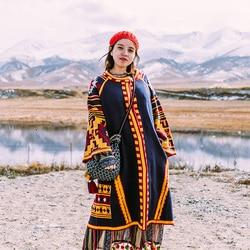 Envío Gratis 2019 nuevo abrigo Vintage para mujeres prendas de vestir exteriores sueltas manga larga a media pantorrilla nacional de punto Jerséis de un solo pecho