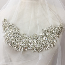 Sparkle Rhinestones Applique Collar Wedding Gown Crystal Beading Accents for Dress Couture