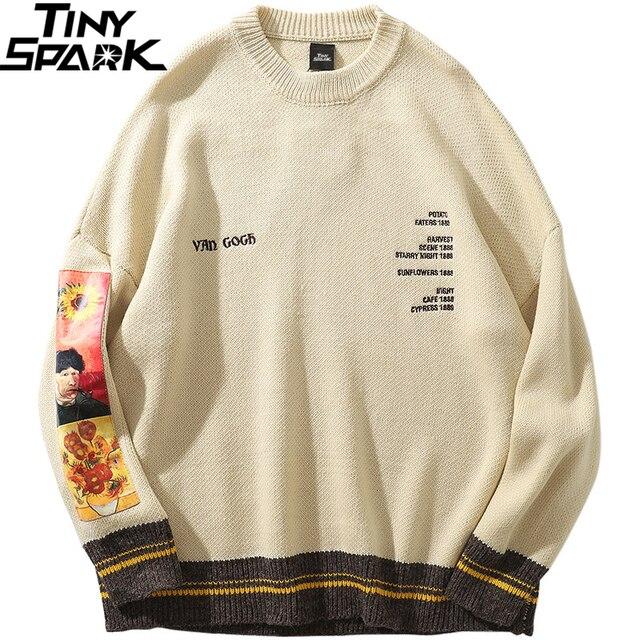 2020 גברים היפ הופ סוודר סוודרים Streetwear ואן גוך ציור רקמה סרוג סוודר רטרו בציר סתיו סוודרים כותנה