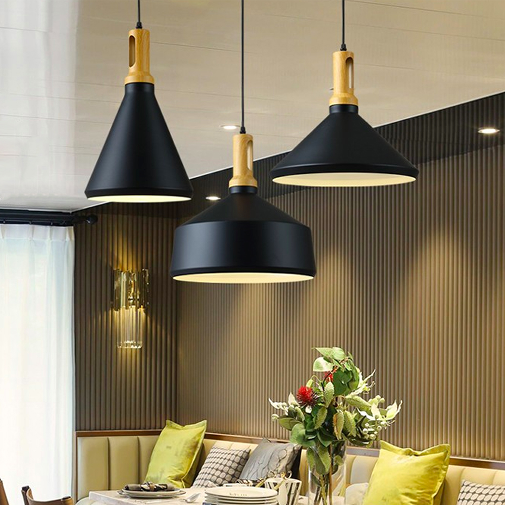 Light-Fixtures Pendant-Lamp Wood Loft-Design Kitchen Dining-Room Restaurant Nordic Modern