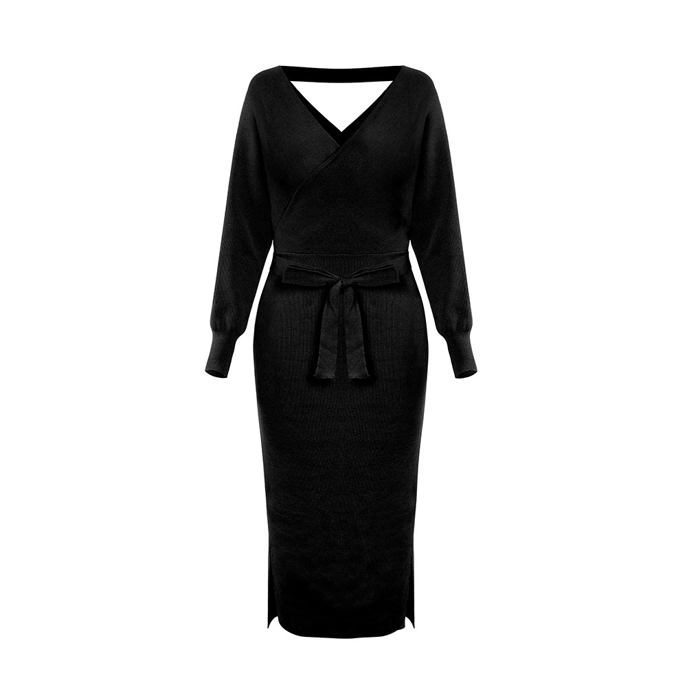 Long Sleeve V Neck With Cross Belt Sweater Knitted Dress 11