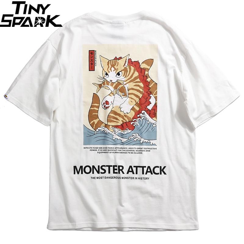 Image 3 - 2019 Men Hip Hop T Shirt Streetwear Monster Cat T Shirts Harajuku Japan Style Funny Tshirt Summer Short Sleeve Cotton Tops TeesT-Shirts   -