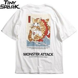 Image 3 - 2020 erkekler Hip Hop T gömlek Streetwear canavar kedi t shirt Harajuku japonya tarzı komik gömlek yaz kısa kollu pamuklu üst giyim Tees