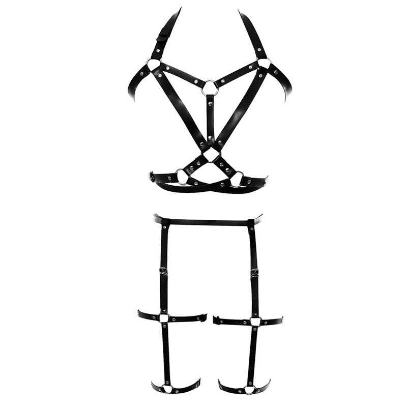 Kaya demeti sütyen seti deri kafes jartiyer kemer moda festivali dans giyim kadınlar seksi vücut kafesli en Punk artı boyutu ayarlamak