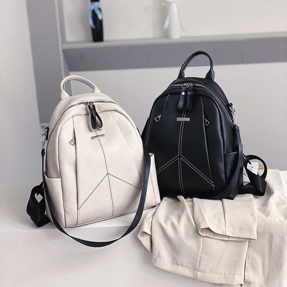 2020 Spring New Soft Leather Ladies Backpack Brand Luxury Designer Large Capacity Casual Travel Bag White Main Sac A Dos Femme