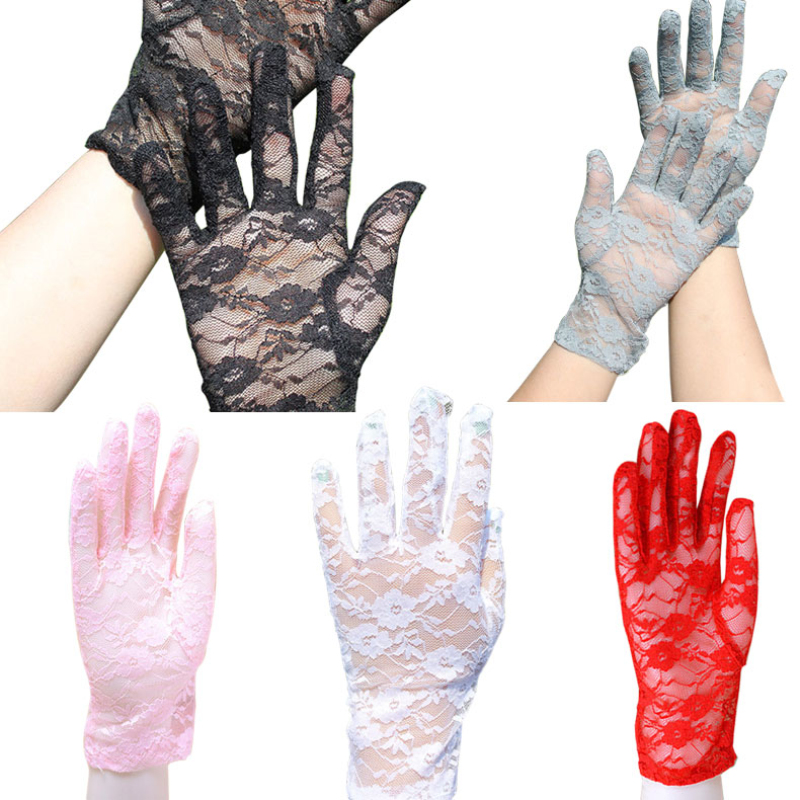 2019 Summer Fashion Sun Protection Accessories Lace Hollow-Out Gloves Skid Resistance Pattern Lace Gloves Luva OH66