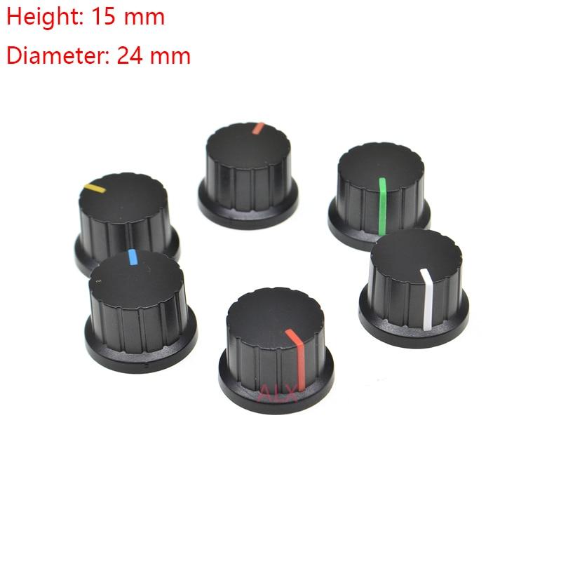 5 шт., 6 мм, диаметр отверстия вала, пластиковые резьбовые накатные ручки потенциометра, крышка s wh148, крышка переключателя
