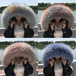 Winter Scarf Real Natural Raccoon Fur Collar High-quality Fox Fur Fashion Coat Collar Cap Collar Hijab Women Luxury Scarfs