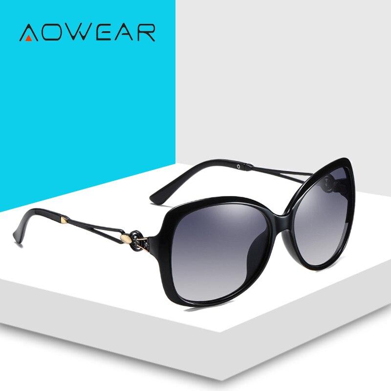 Sunglasses Sun Polarized Retro Female For Lady Gradient AOWEAR Women Eyewear Glasses 2020 Luxury Brand Shades Womens Oversized