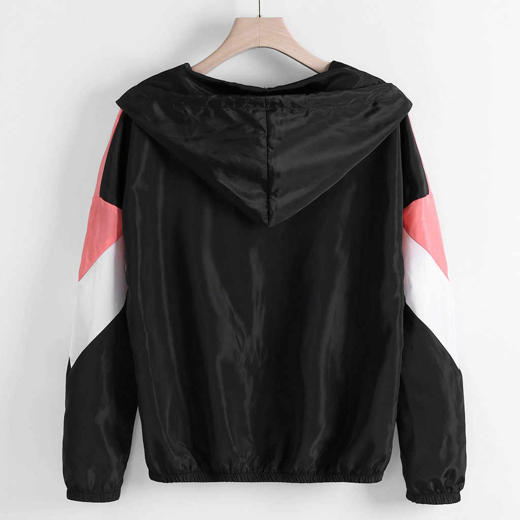 2019 neue Mode Frauen Windjacke frauen Langarm Patchwork Mit Kapuze Zipper Taschen Mantel Dünne Windjacke Weibliche Outwear # J30