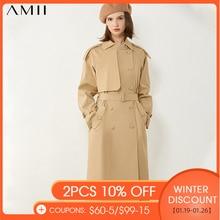 AMII Minimalism Autumn Women's Windbreaker British Style Lapel Double Breasted Belt Coat Calf-length Female Overcoat 12040602