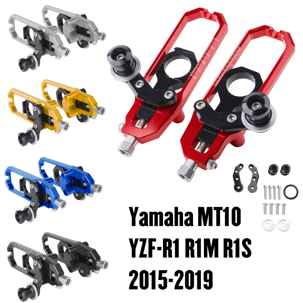 Blue Motorcycle CNC Axle Block Chain Tensioner Rear Axle Spindle Chain Adjuster with Swingarm Spool for YAMAHA FZ-10 FZ10 MT-10 MT10 R1 R1M R1S