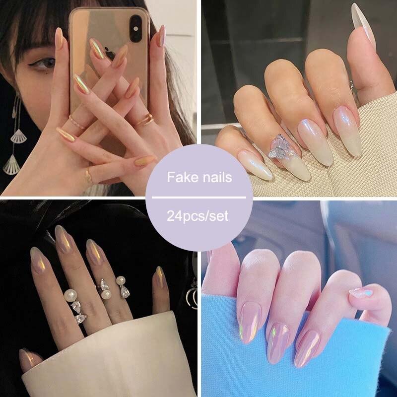 24 Pcs/set Fake Nails Press on FingerNail False Nail Aurora Wearable Nails Removable Western Style Nail Tips with Glue Nails Art
