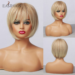 EASIHAIR Blonde Ombre Short Bob Wigs for Women Synthetic Natural Hair Wigs High Temperature Fiber Cosplay Wig Heat Resistant