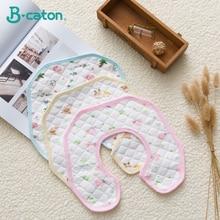 Baby Bibs Cotton Burp Cloths 360 Degree Rotatable Waterproof Feeding Cartoon Blue Pink Yellow 25x25cm