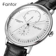 Fantor Top Merk Luxe Casual Horloge Mannen Bedrijvengids Dress Classic Horloge Heren Quartz Waterdicht Klok Lederen Band Horloge