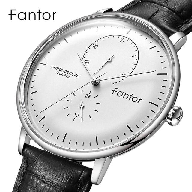 Fantor العلامة التجارية الفاخرة ساعة عادية رجال الأعمال فستان كلاسيكي ساعة اليد رجالي كوارتز مقاوم للماء ساعة جلدية حزام ساعة