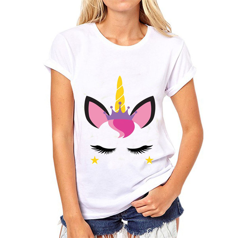 Ladies Summer Casual Short Sleeves Cartoon Style Adult Unicorn T Shirt Letter Print T Shirt Casual For Women