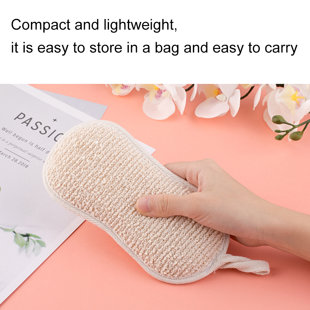 1pc Natural Linen Loofah Shape Sponge Terry Gloth Scrubber Brush Pad Cleansing Skin For Men And Women Bath Shower Scrubber New
