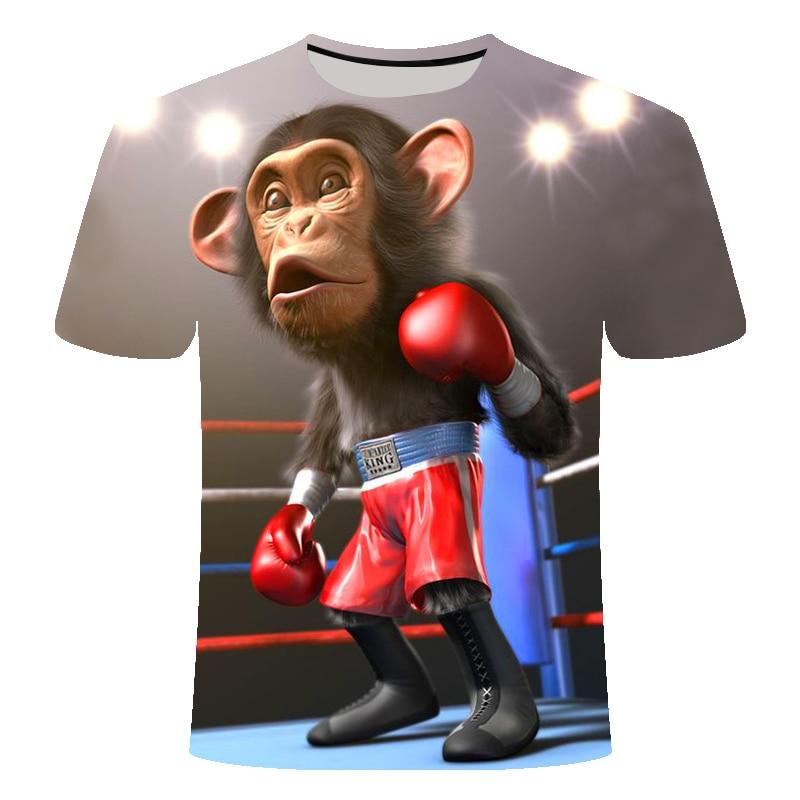 2019 Hot New Men's  T Shirt 3D Printed Animal Monkey Dog Tshirt Short Sleeve Funny Design Casual Tops Tees Male Halloween Shirt