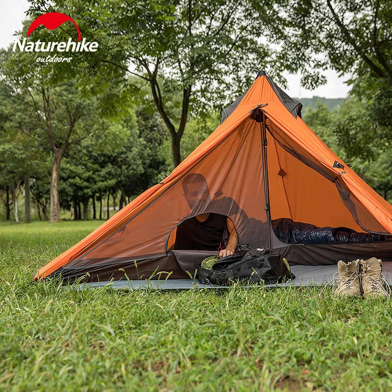 Naturehike 1 człowiek namiot Tipi Ultralight 20D Nylon wodoodporny Camping piramida odkryty namioty kempingowe Tipi tylko 530g