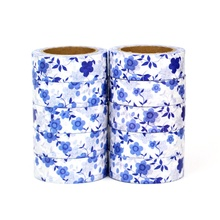 NEW 10pcs/Lot Decorative Cute Blue Flowers Leaves Washi Tapes Japanese Paper Scrapbooking Adhesive Masking Tape Stationery