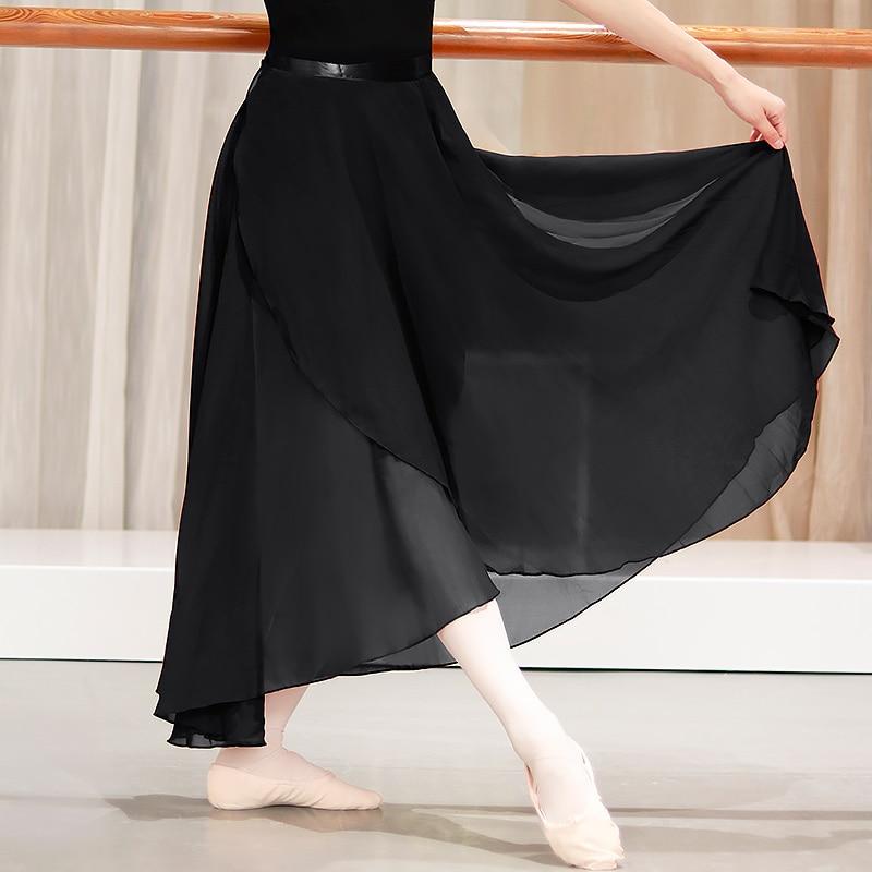 Женская длинная шифоновая балетная юбка, юбка для бальных танцев для взрослых, черная, бордовая балетная юбка, платье с завязкой на талии