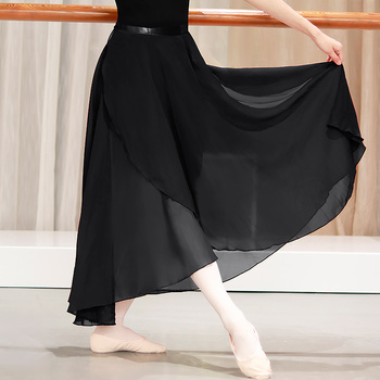 Dance Skirt Women Long Chiffon Ballet Skirts Adult Ballroom Black Burgundy Costume Waist Tie Dress - discount item  10% OFF Stage & Dance Wear