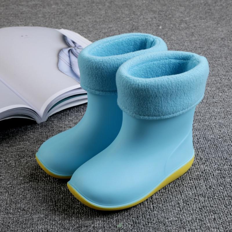 ULKNN Boys Girls Baby Rubber Boots Soft PVC Snow Boots Summer Autumn Children Rain Boots Warm Plush Waterproof Kids Rain Shoes