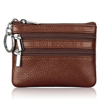 WoMen Man Leather Coin Purse Card Wallet Clutch Double Zipper Small Change Bag 1