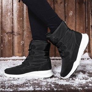 Image 4 - Skrevds النساء أحذية الثلوج الشتاء الأحذية الدافئة سميكة أسفل منصة مقاوم للماء حذاء من الجلد للنساء سميكة الفراء أحذية قطنية حجم