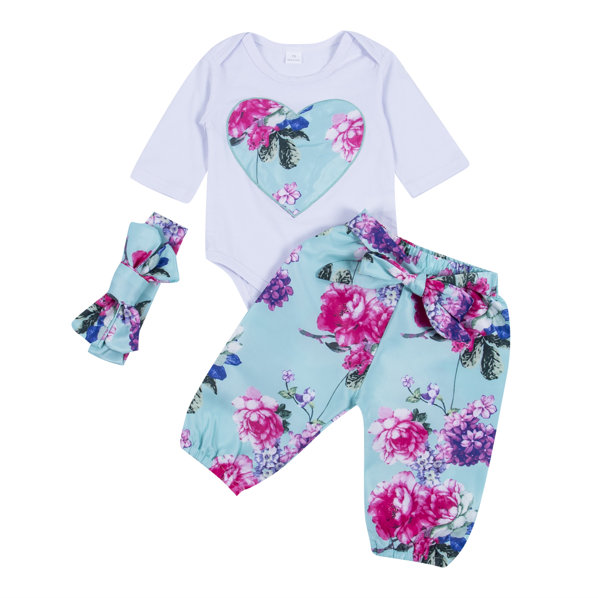Autumn Baby Clothing 3pcs Newborn Kid Baby Girl Floral Clothes Romper +Pants +Headband Outfits Clothing Set