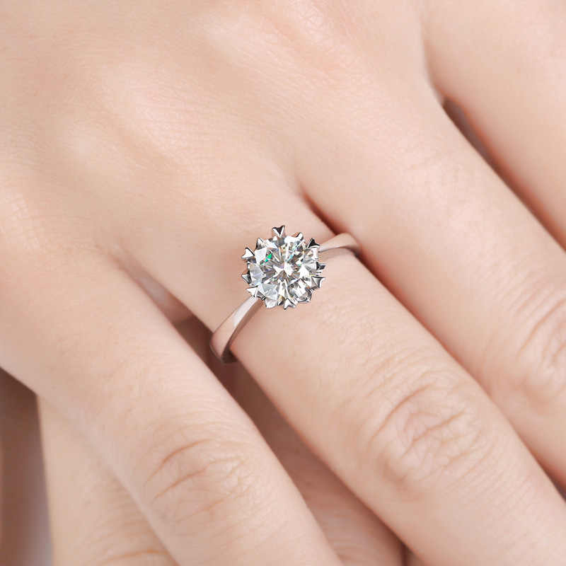 Классический 925 стерлингового серебра 3ct Moissanite кольцо лабораторный алмаз круглый Блестящий Огранки ювелирные изделия обручальное кольцо Снежинка стиль