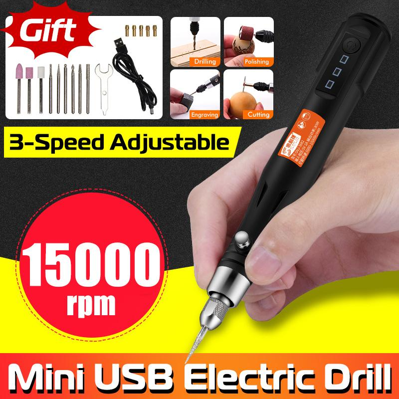 3 Speeds Adjustable 15000rpm Electric Grinding Machine Handheld Mini Grinder USB Rechargeable Engraving Pen Rotary Tools