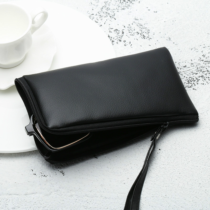Black Handmade Leather Bag PVC Leather Soft Bag Glasses Case Men And Women Fashion Sunglasses Box Myopia Storage Bag