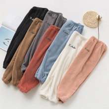 Детская Пижама; зимние теплые штаны из плотного флиса для мальчиков и девочек; повседневные свободные штаны; брюки с вышитыми буквами; домашняя одежда из мягкого хлопка